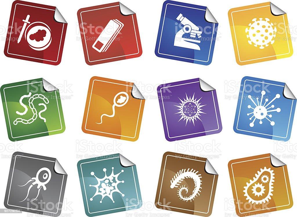 Microscopic Sticker Set royalty-free stock vector art