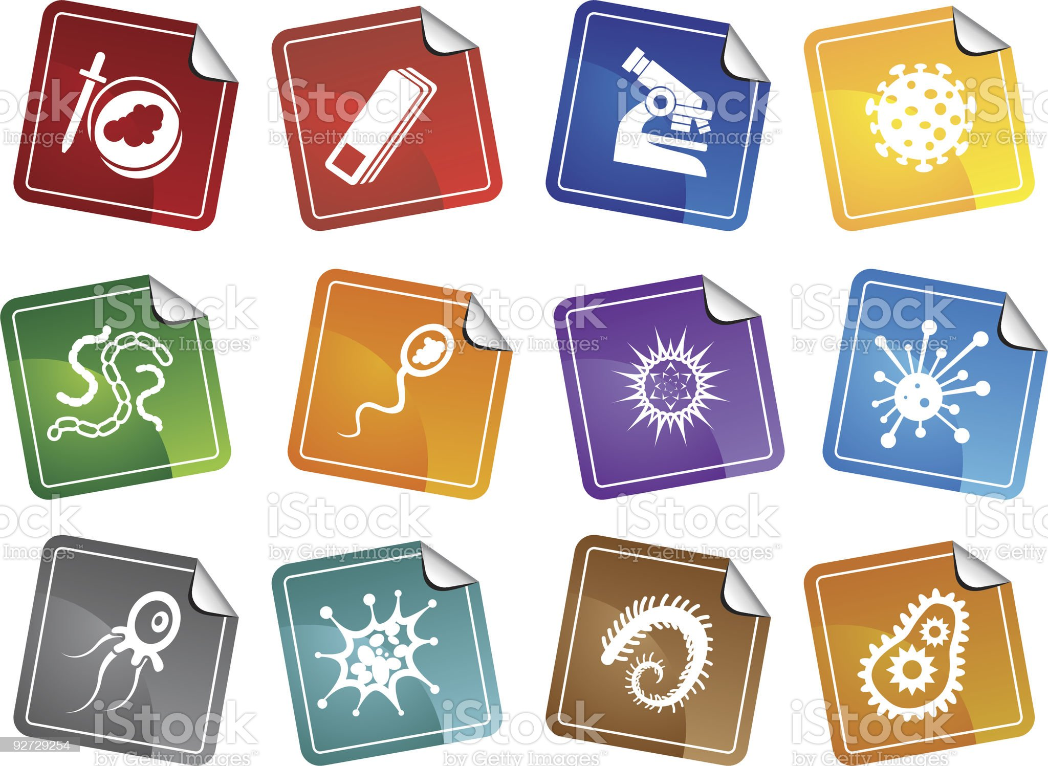 Microscopic Sticker Set royalty-free stock vector art
