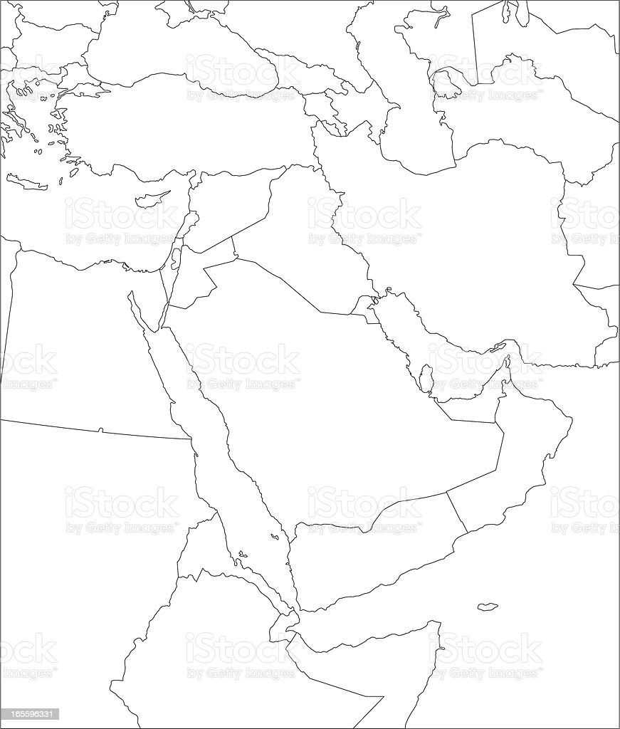 Middle East line map. royalty-free stock vector art