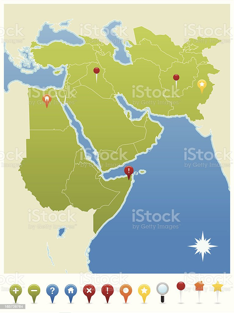 Middle East, North Africa, Pakistan and Afghanistan GPS Map Icons vector art illustration