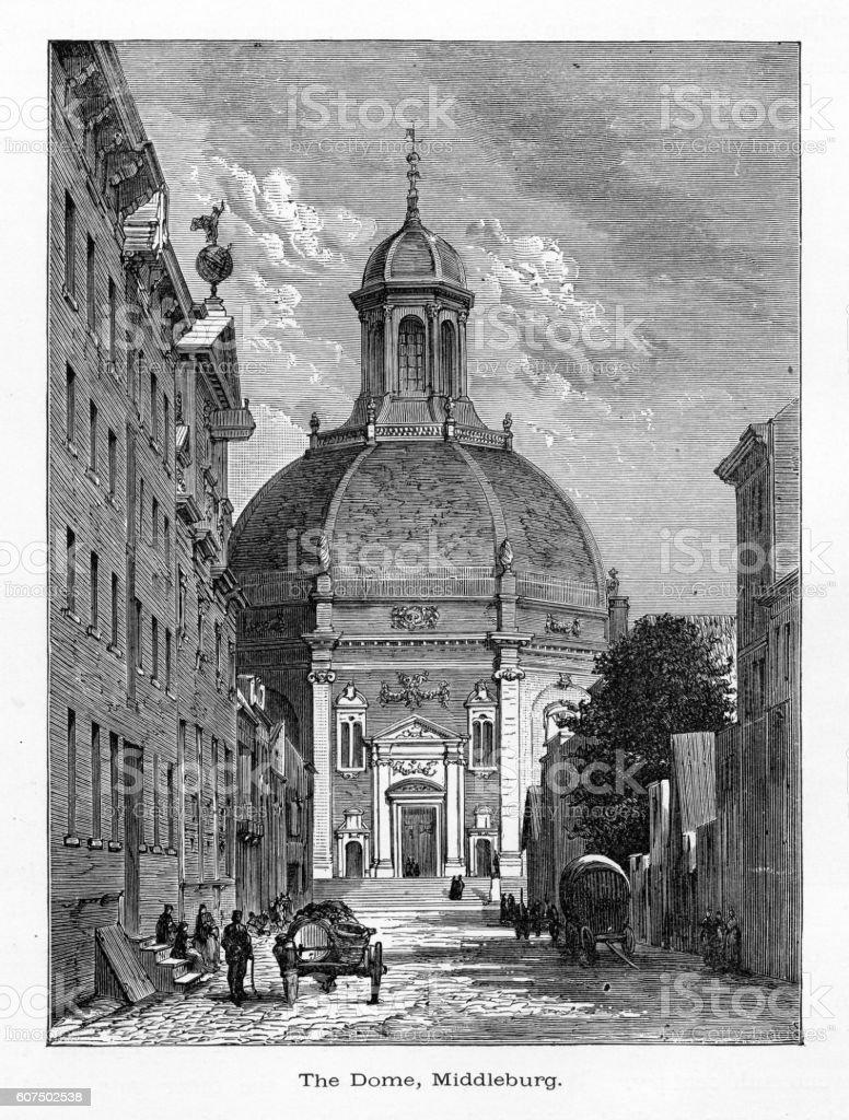 Middleburg, The Dome Church, Middleburg, Zeeland, Netherlands 1887 vector art illustration