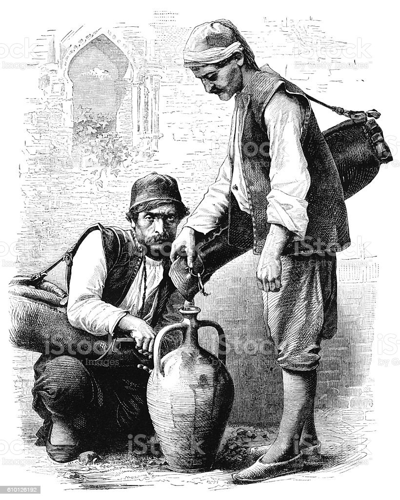 Middle-Eastern water-carriers - Victorian engraving vector art illustration