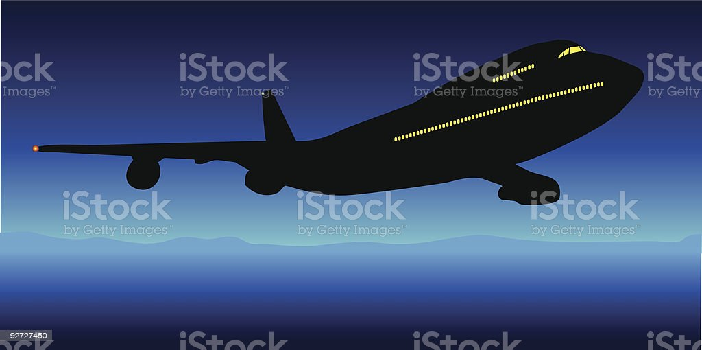 Midnight Flight vector art illustration
