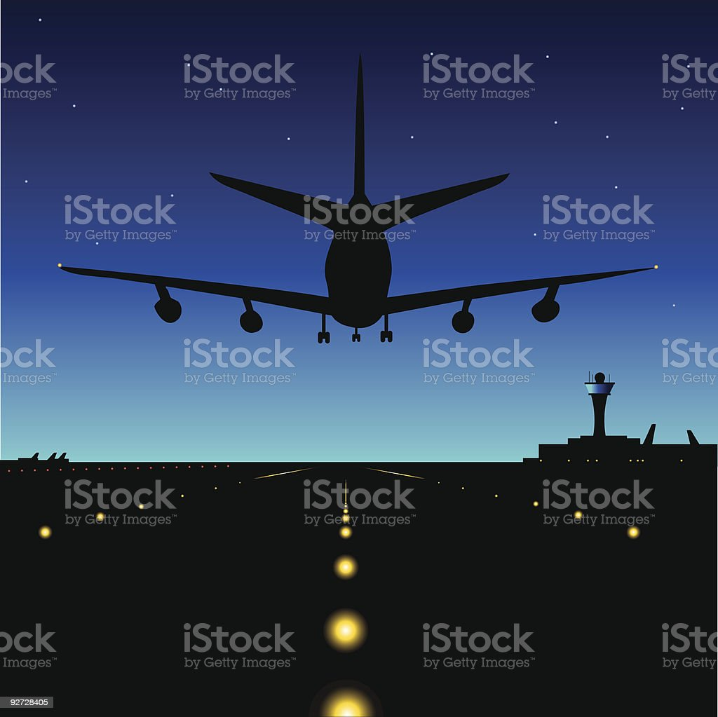 Midnight Landing vector art illustration