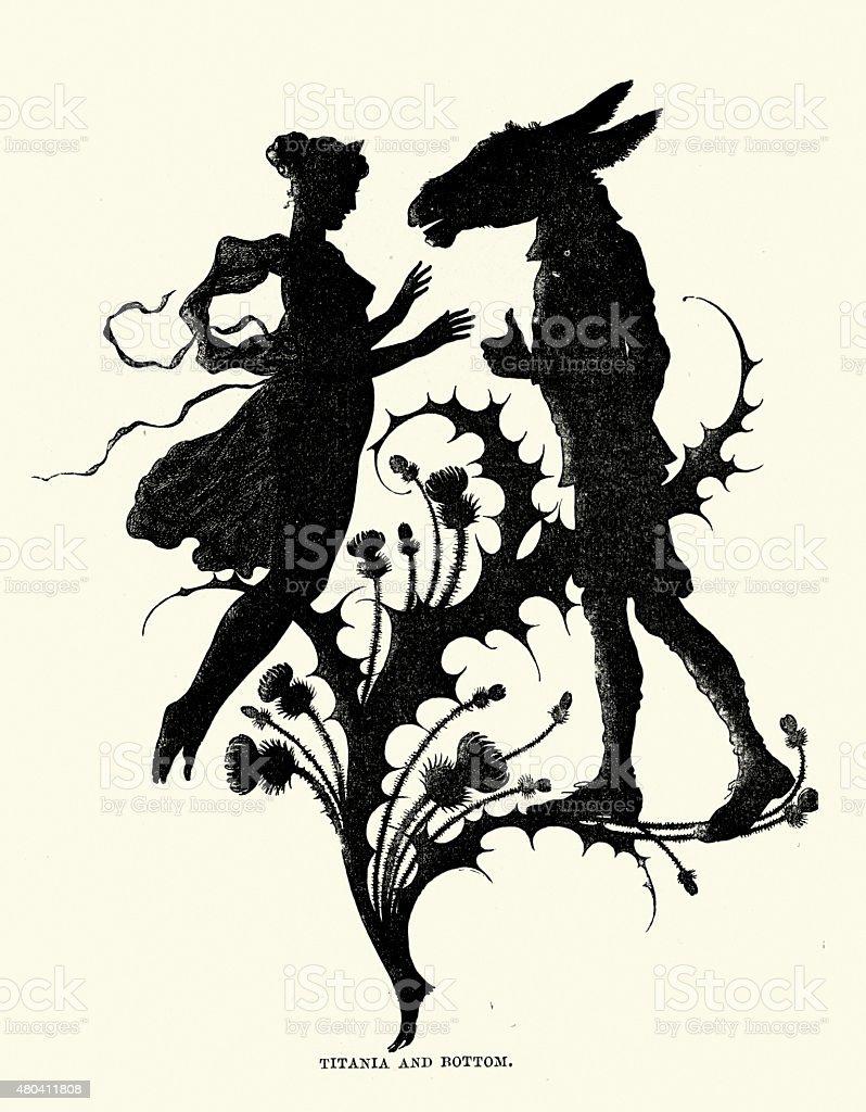 Midsummer Night's Dream - Silhouette of Titania and Bottom vector art illustration
