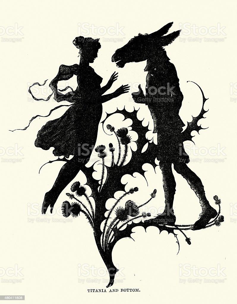 Midsummer Night's Dream - Silhouette of Titania and Bottom vector art illustration