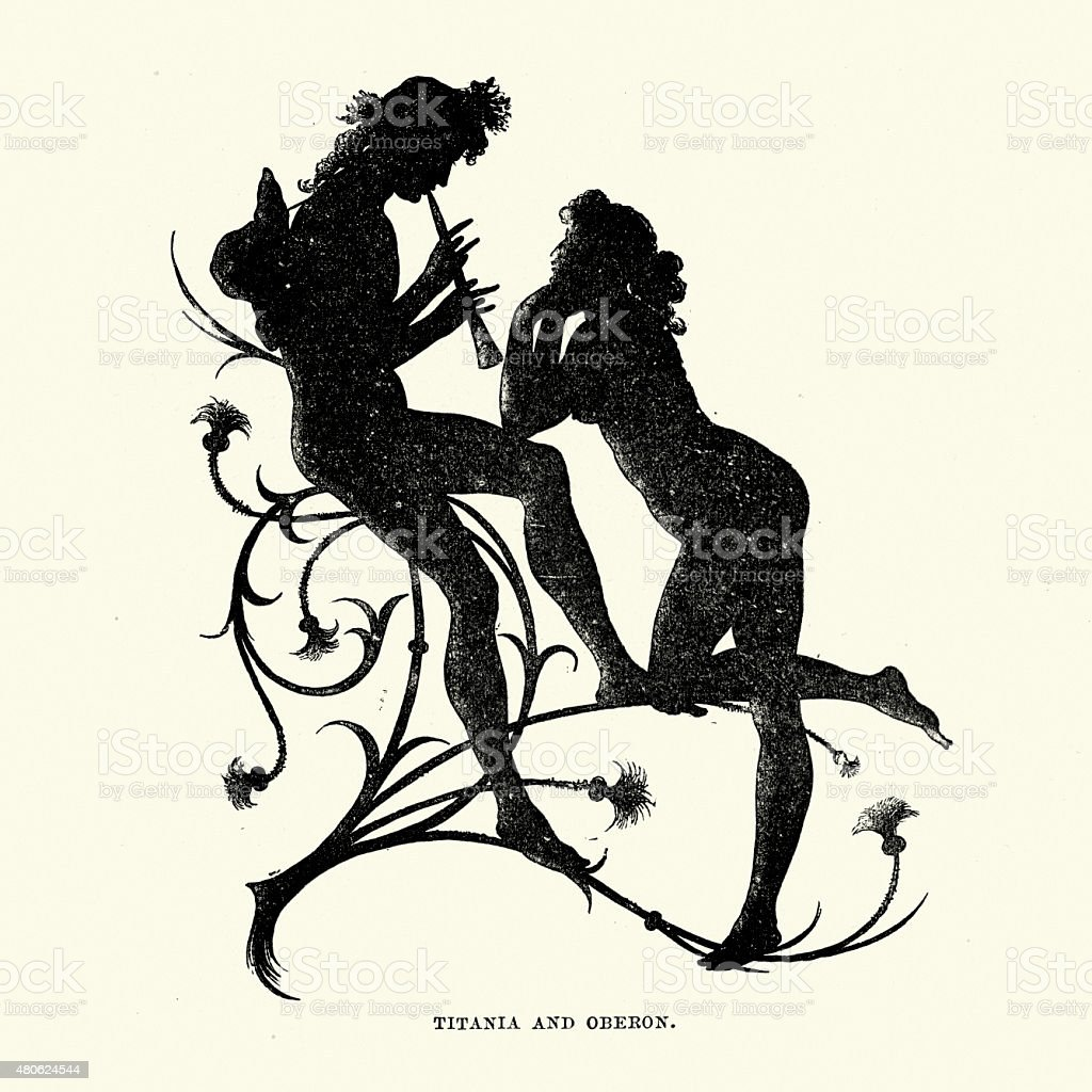 Midsummer Night's Dream - Silhouette of Titania and Oberon vector art illustration