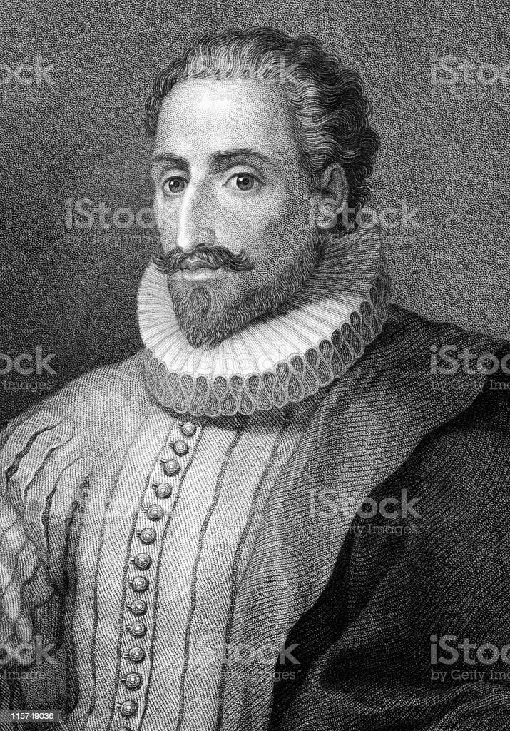 Miguel de Cervantes Saavedra in button down shirt and collar vector art illustration