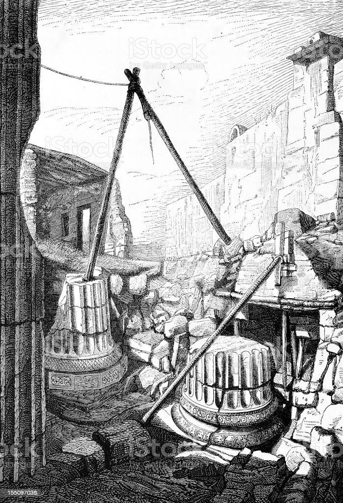 Miletus Apollo's Temple ruins royalty-free stock vector art