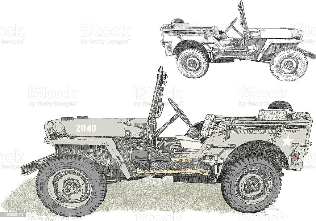 Military 4x4 vector art illustration