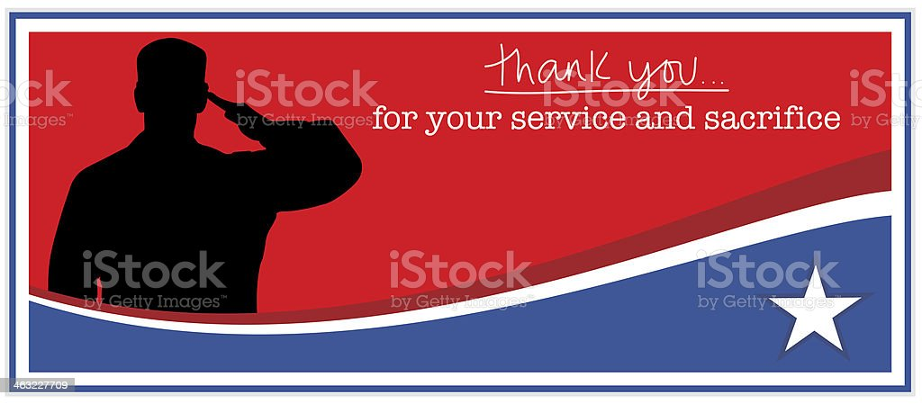 Military Appreciation and Thank you vector art illustration