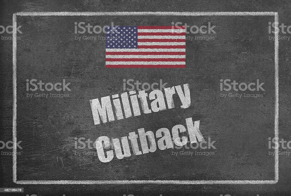 Military Cutback with US Flag on Blackboard vector art illustration