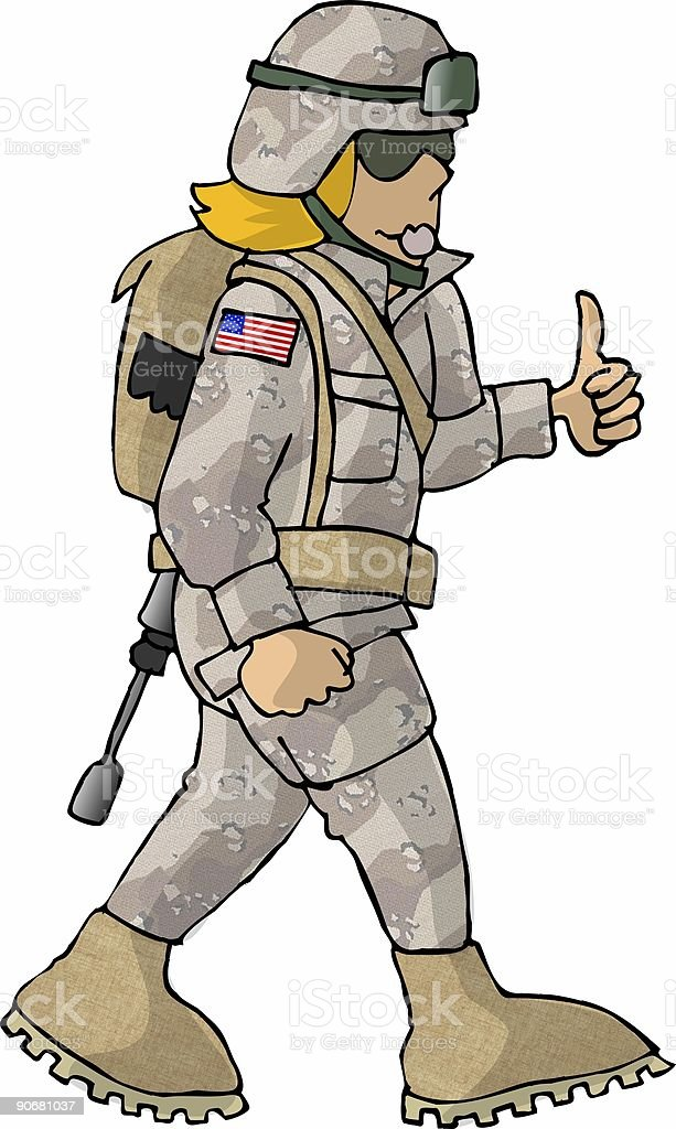 US Military Girl royalty-free stock vector art