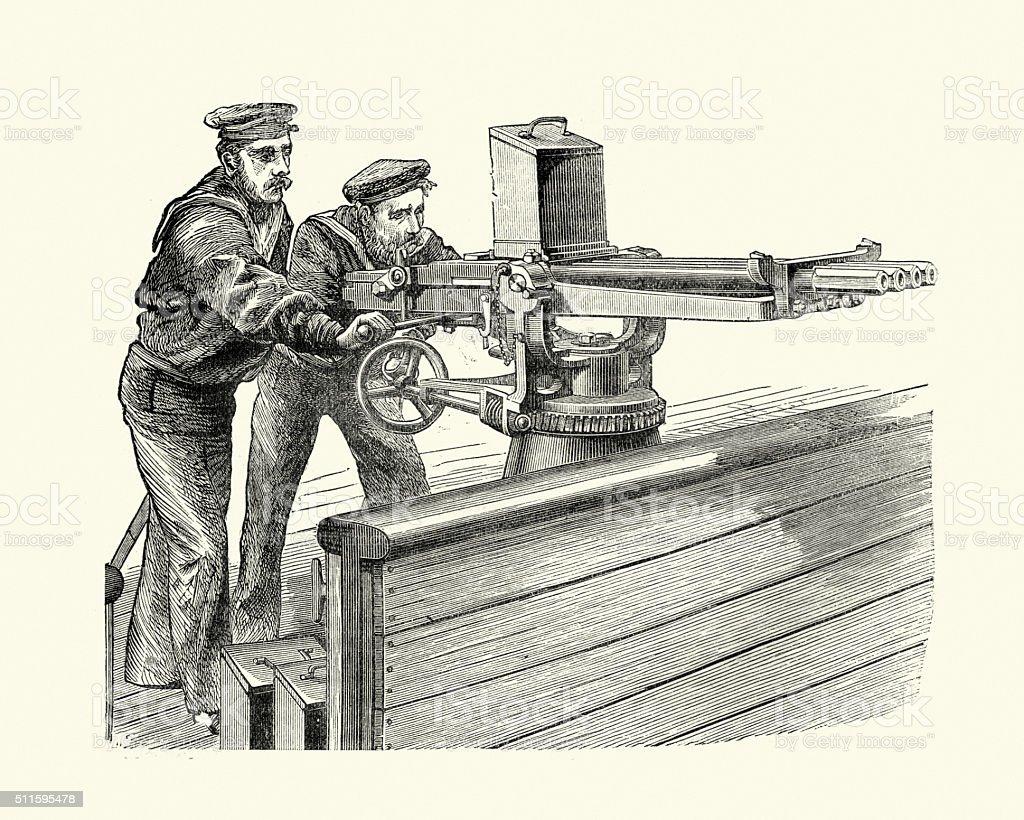 Military History - Sailors using a Nordenfelt gun vector art illustration