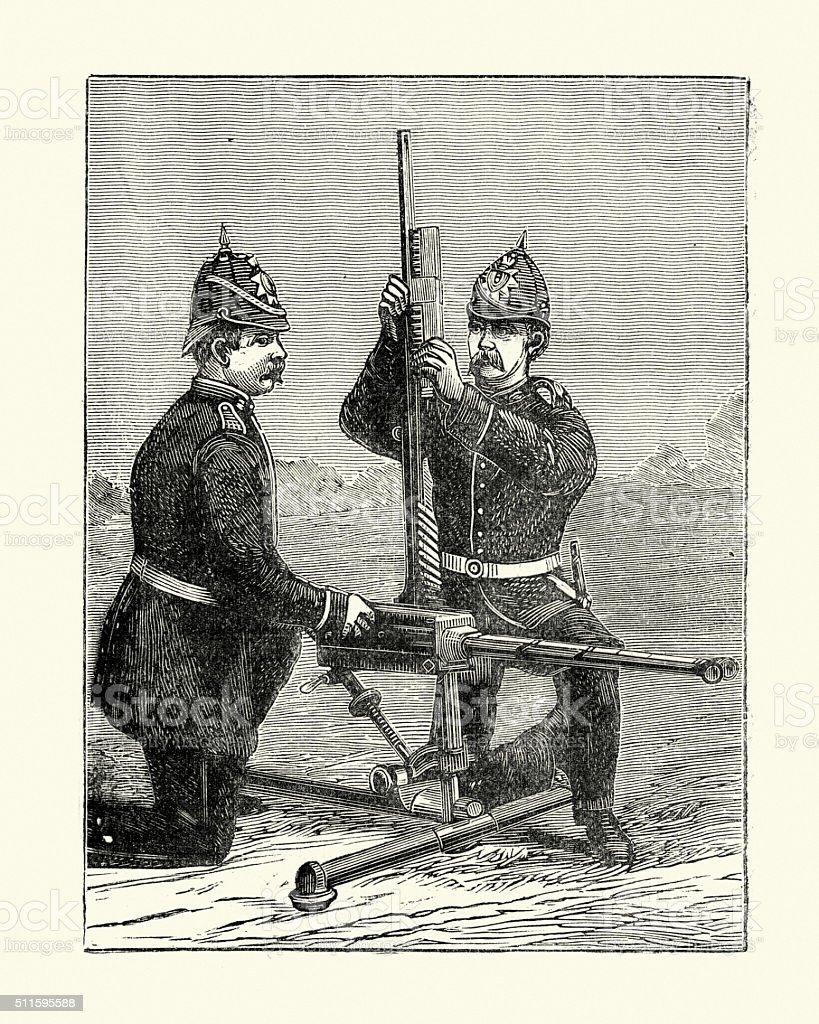 Military History - Soldiers using a Gardner gun vector art illustration