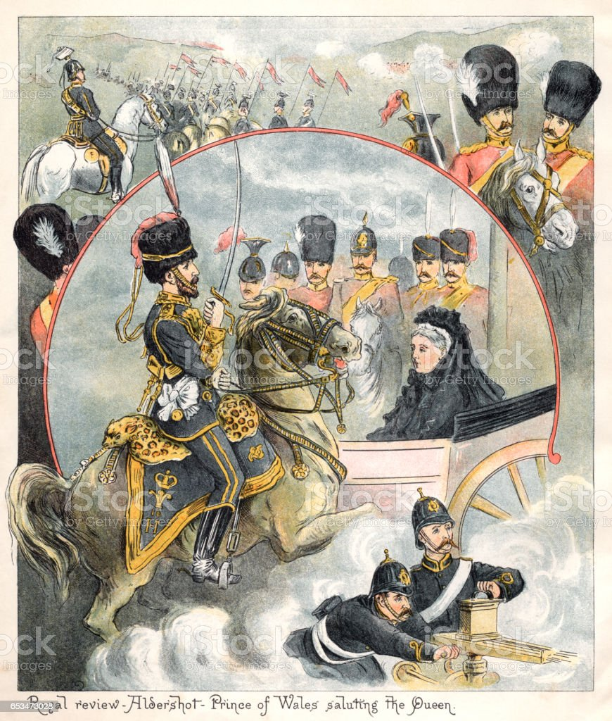 Military review at Aldershot with Queen Victoria vector art illustration