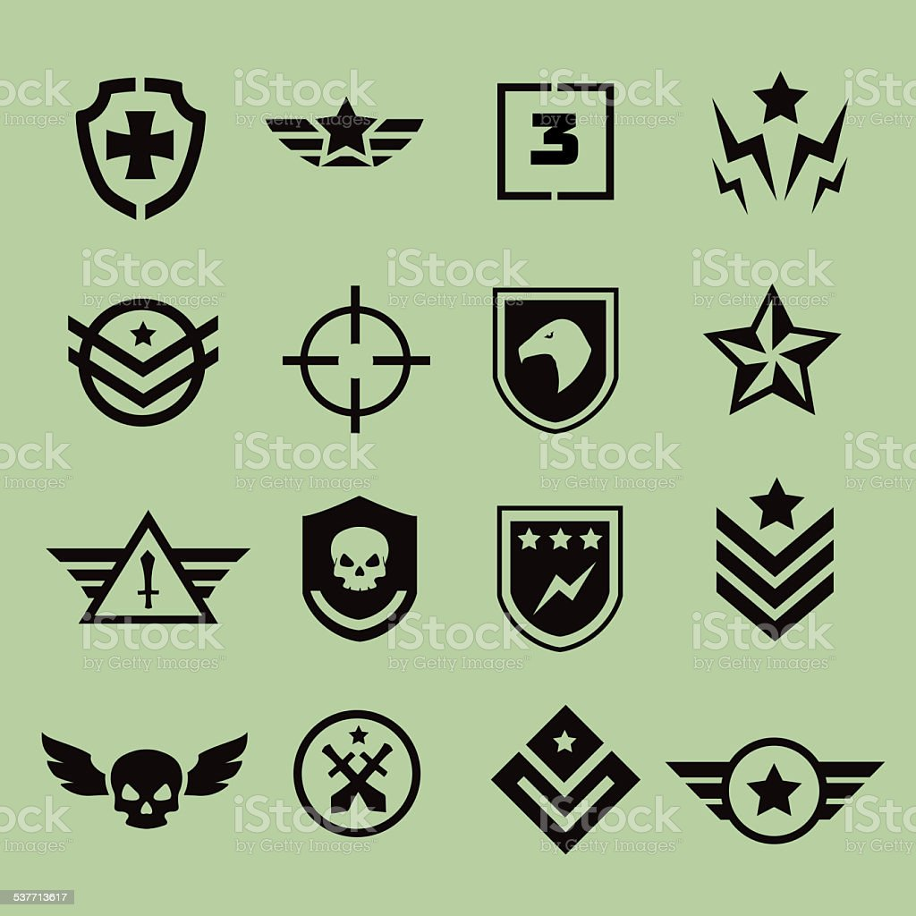 Military symbol icons vector art illustration
