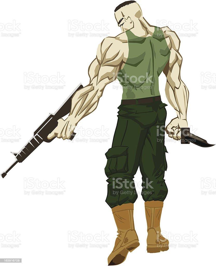 Military Warrior vector art illustration