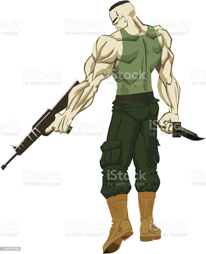 Military Warrior vector art illustration