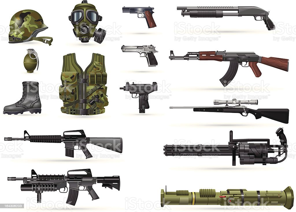 Military Weapons vector art illustration