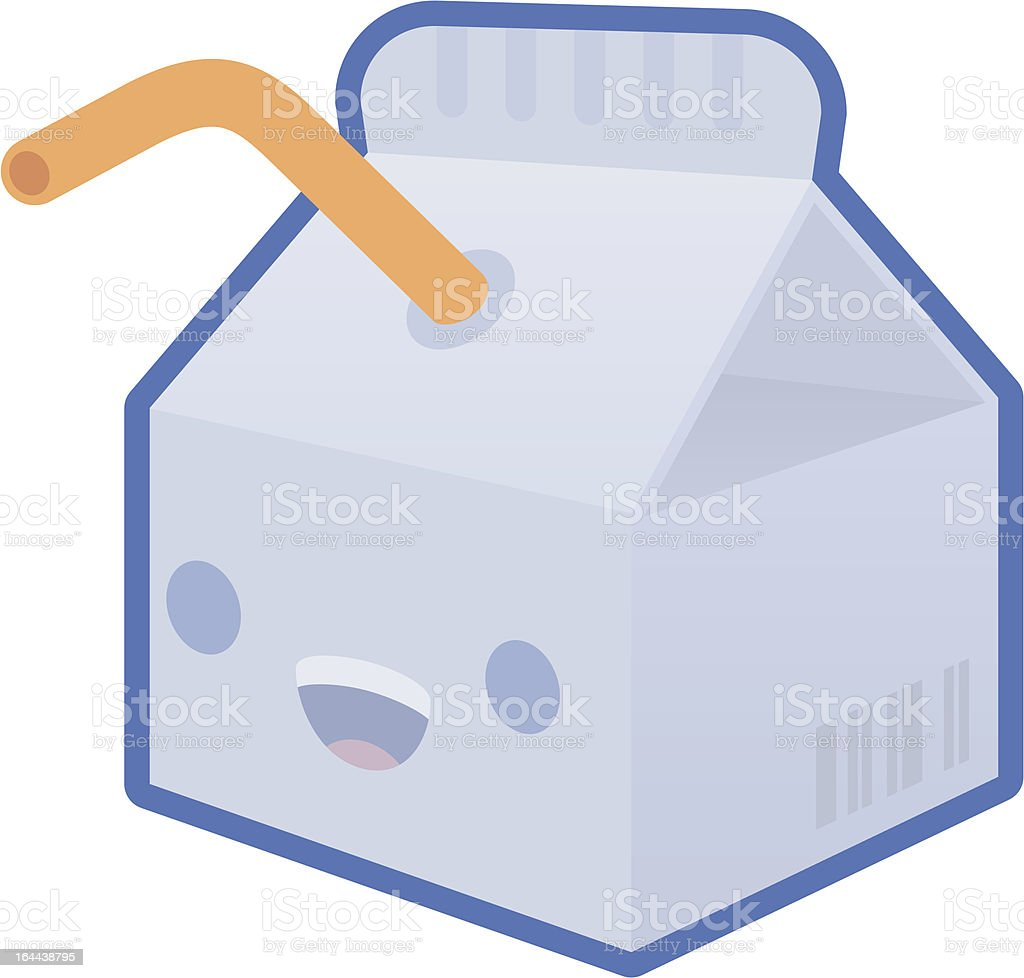 Milk Carton with Straw vector art illustration
