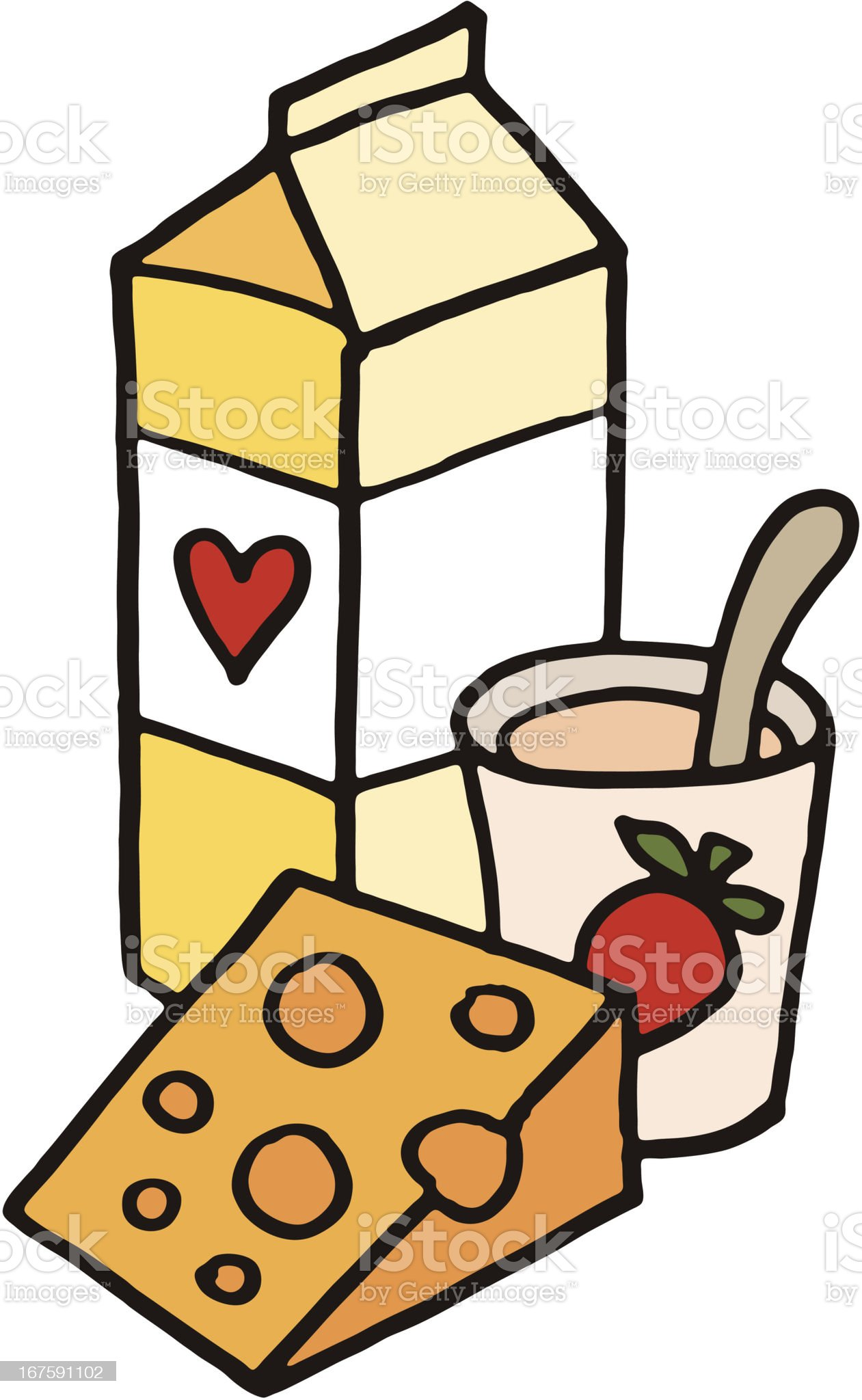 Milk cheese and yogurt doodle royalty-free stock vector art