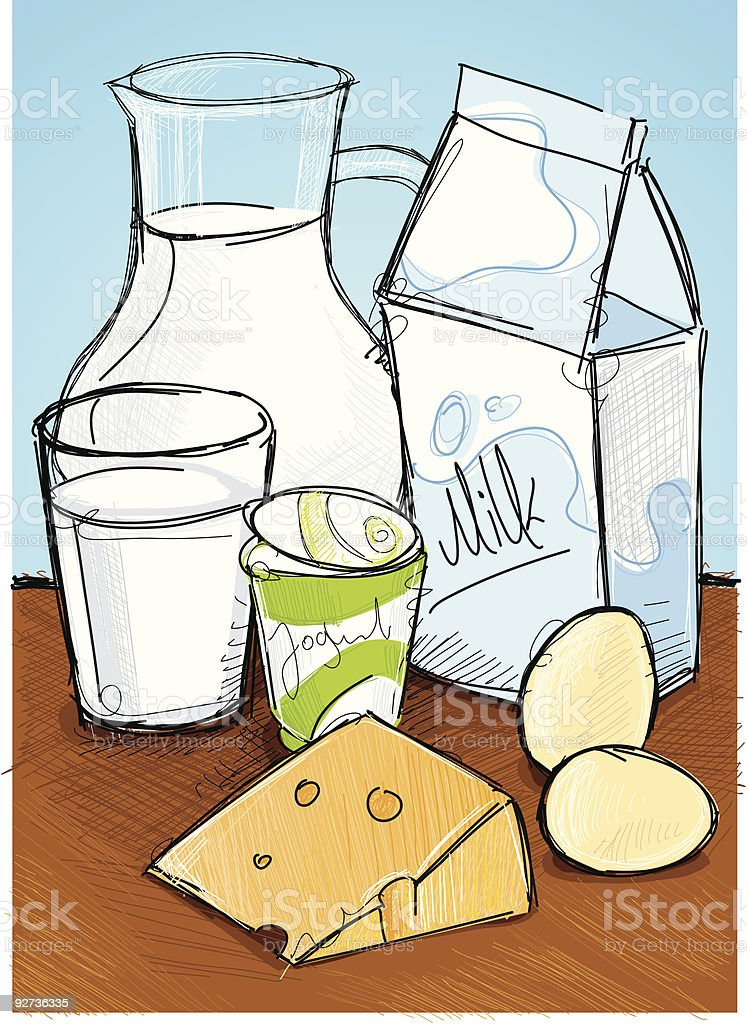 milk products royalty-free stock vector art
