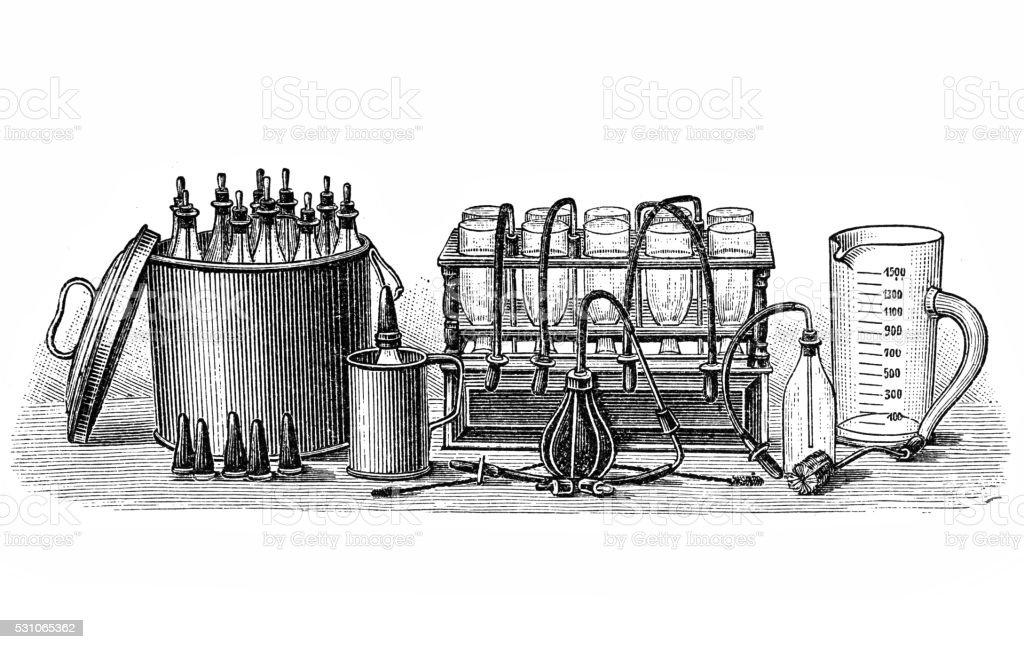 Milk sterilization vector art illustration