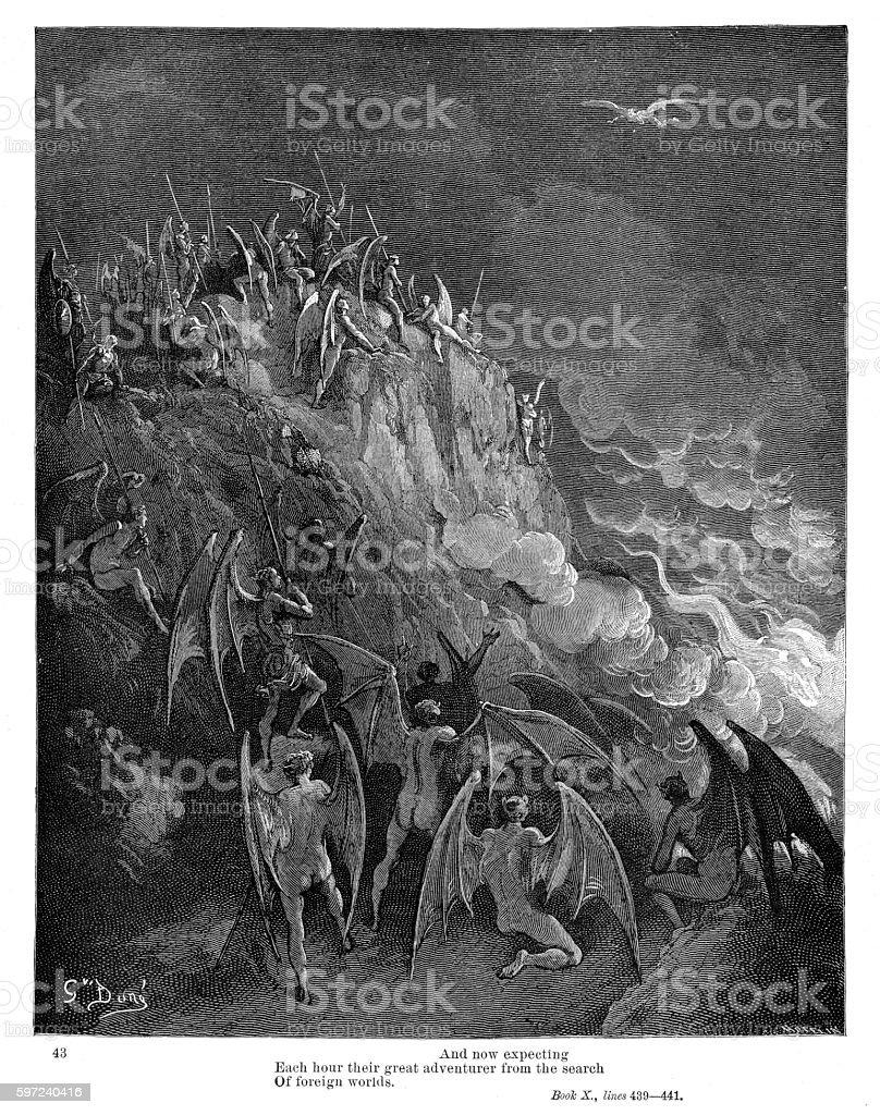 MIltons Paradise 1885 vector art illustration