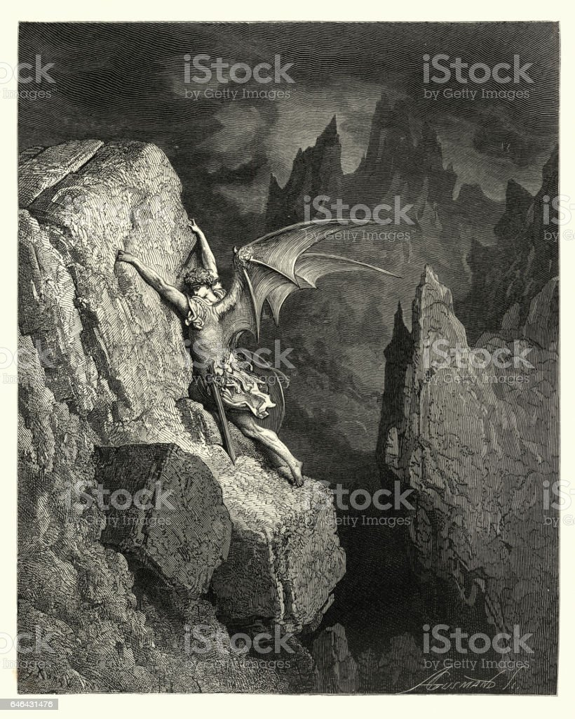 Milton's Paradise Lost -  Gustave Dore pursues his way vector art illustration