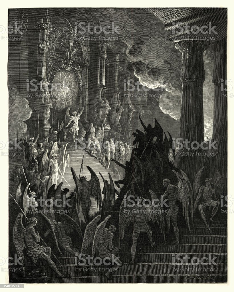 Milton's Paradise Lost High on a throne of royal state vector art illustration