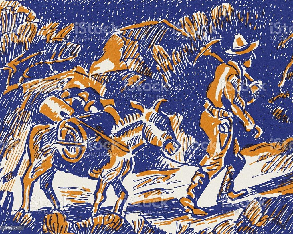 Miner Pulling a Donkey vector art illustration
