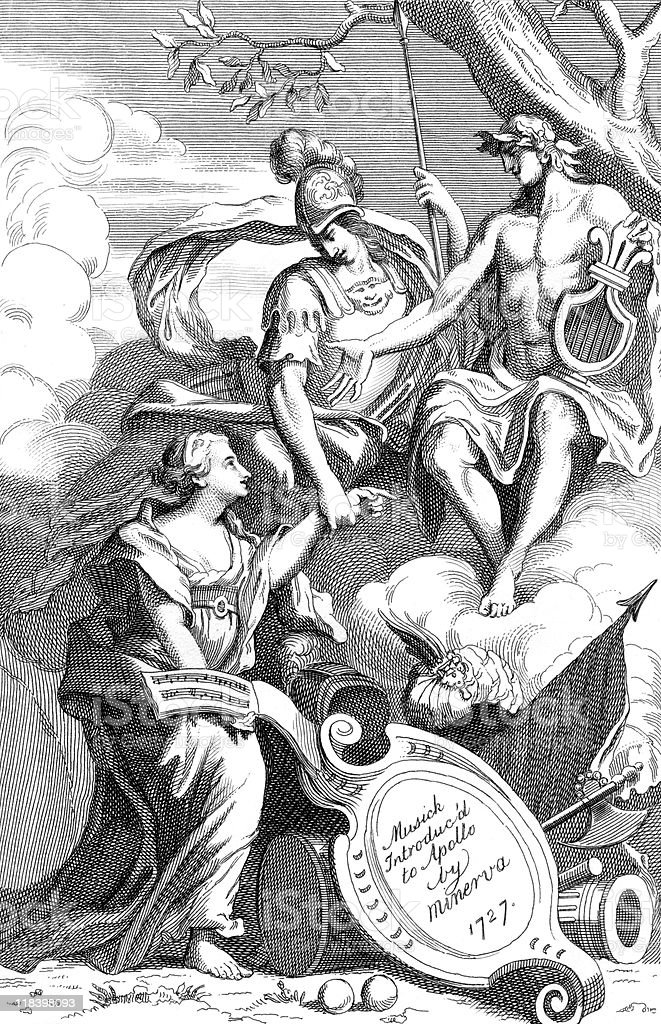 Minerva Presents Music to Apollo royalty-free stock vector art