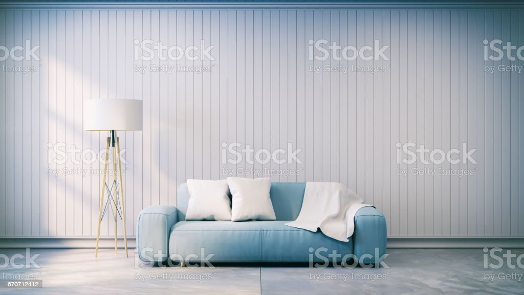 Minimalist  interior design,light gray sofa with lamp on gray wall and concrete flooring ,vintage style, 3d render vector art illustration