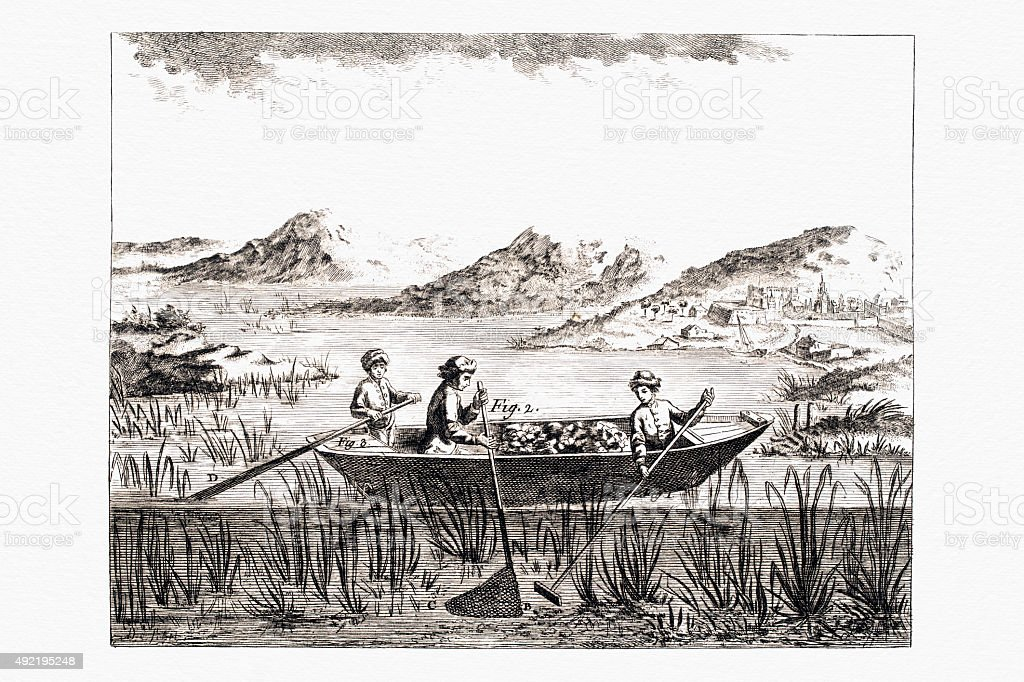 Mining in the river, 19 Century Diderot Encyclopedia vector art illustration