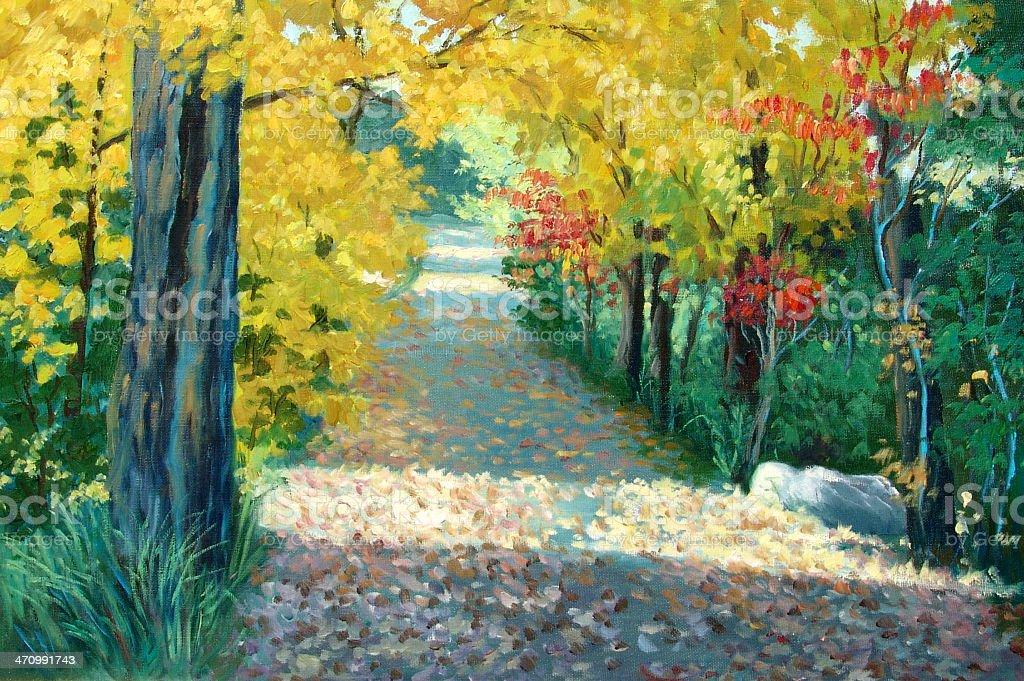 Minnesota Autumn drive vector art illustration