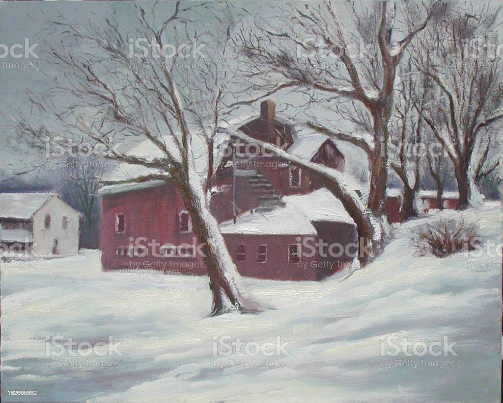 Minnesota Barn Painting royalty-free stock vector art