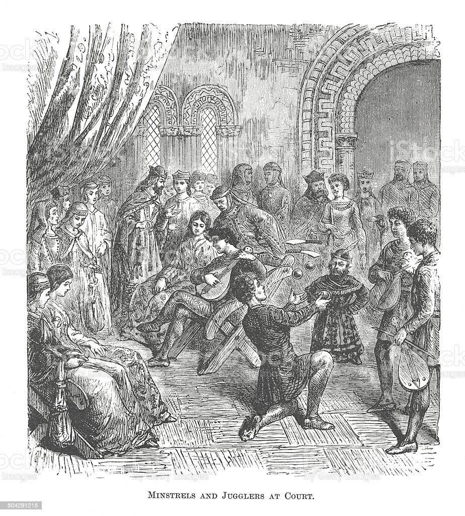 Minstrels and Jouglers at Court (antique engraving) royalty-free stock vector art