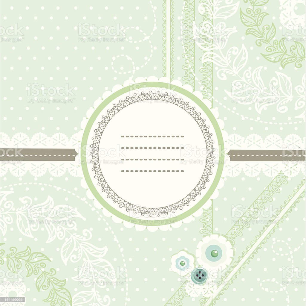 Mint ice cream lace design for greeting card royalty-free stock vector art