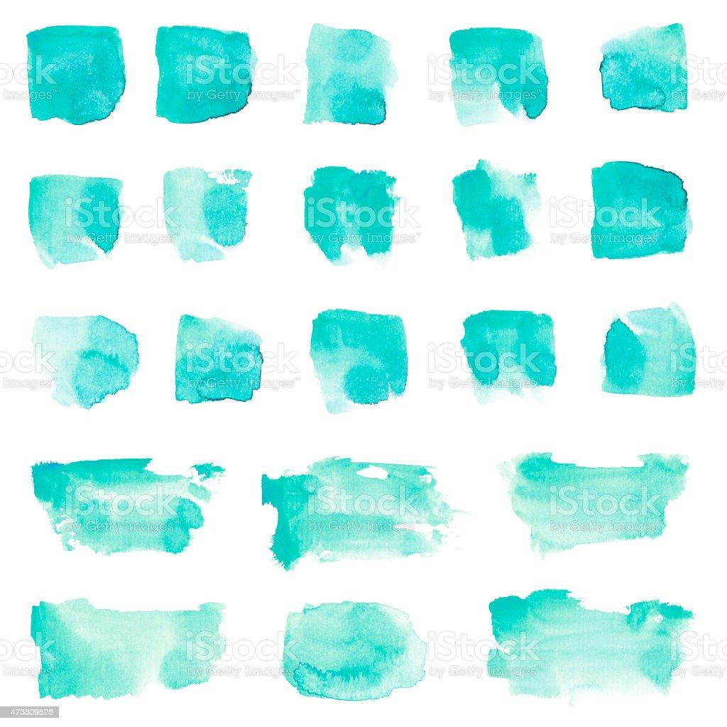 Mint watercolor stain design set vector art illustration