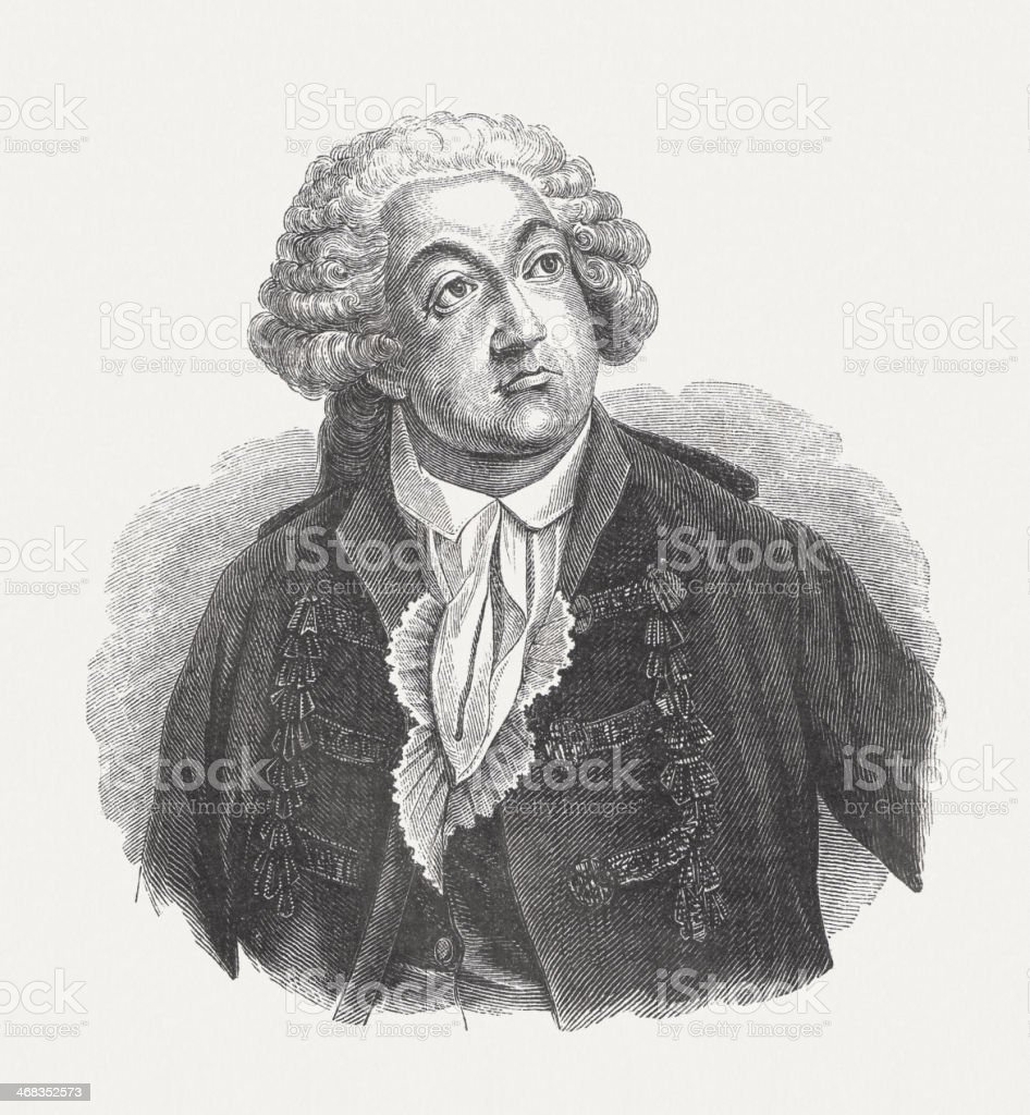Mirabeau (1749-1791), wood engraving, published in 1851 royalty-free stock vector art