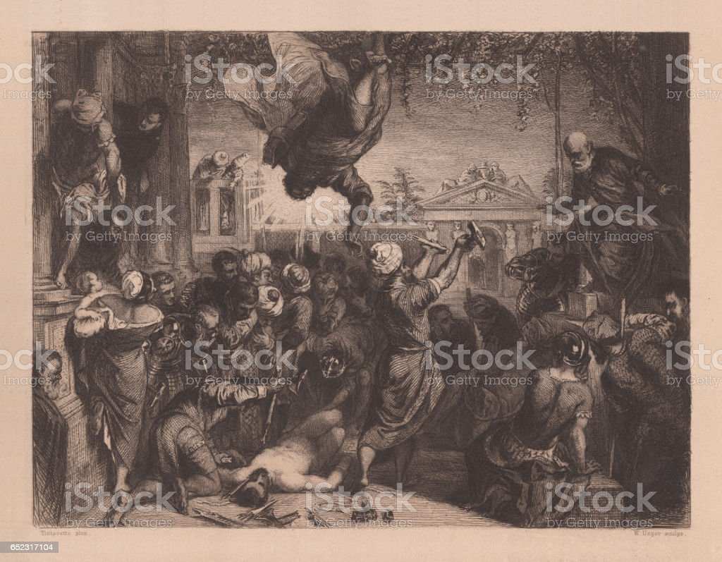 Miracle of the Slave, painted (1548) by Tintoretto, Venice, Italy vector art illustration