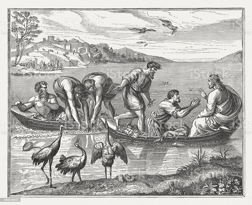Miraculous fishing (Luke 5,1-11) by Raphael, published 1878 vector art illustration