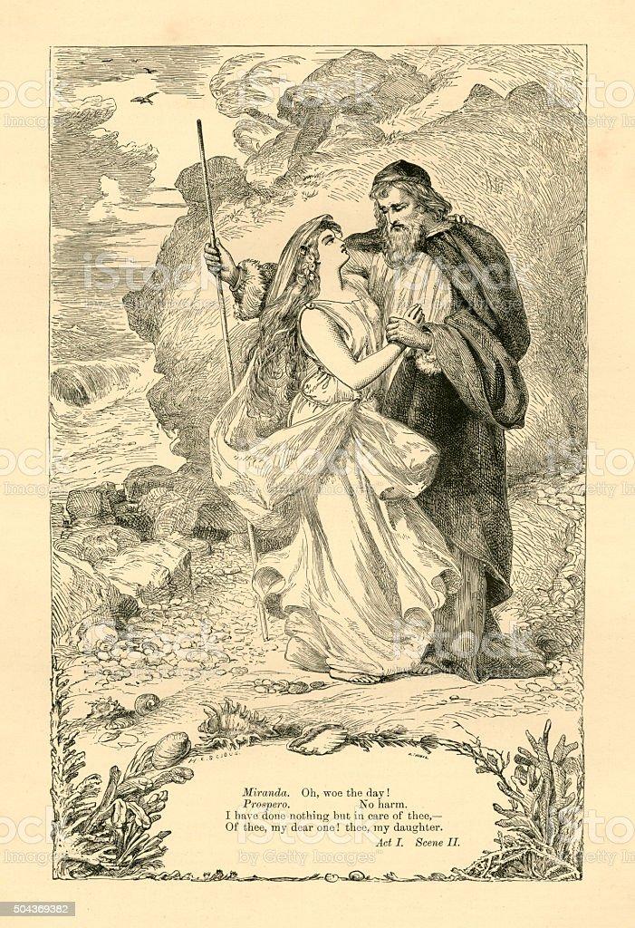 Miranda and Prospero vector art illustration