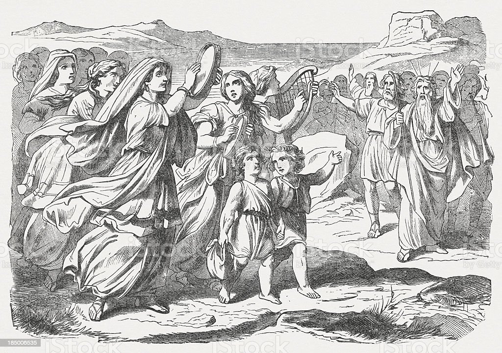 Miriam's song of praise (Exodus 15), wood engraving, published 1877 vector art illustration
