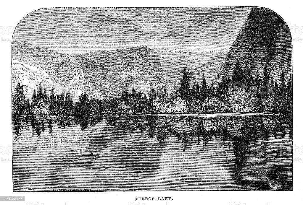 Mirror lake Yosemite valley USA from 1880 journal vector art illustration