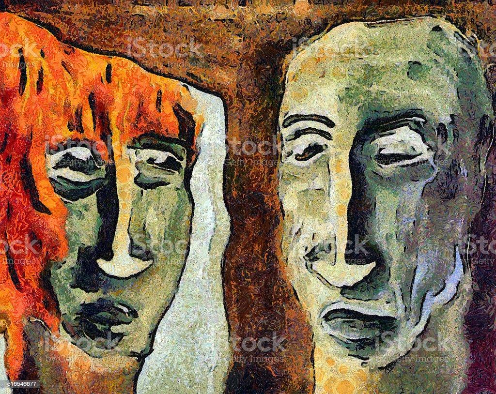 Mirroring - Retrospect vector art illustration