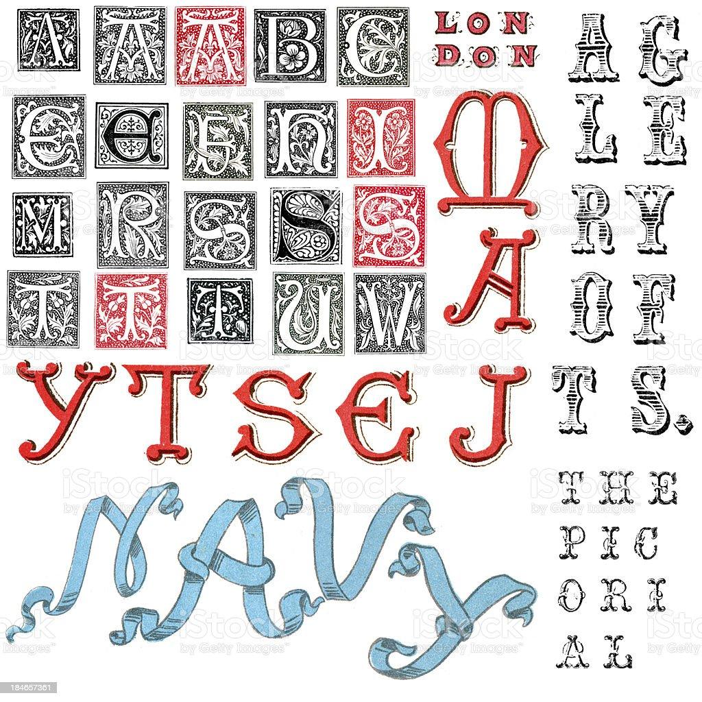Miscellaneous Retro Alphabet Letters vector art illustration
