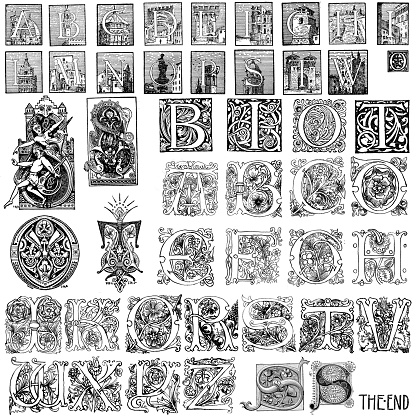 Medieval Illuminated Letter Clip Art Vector Images