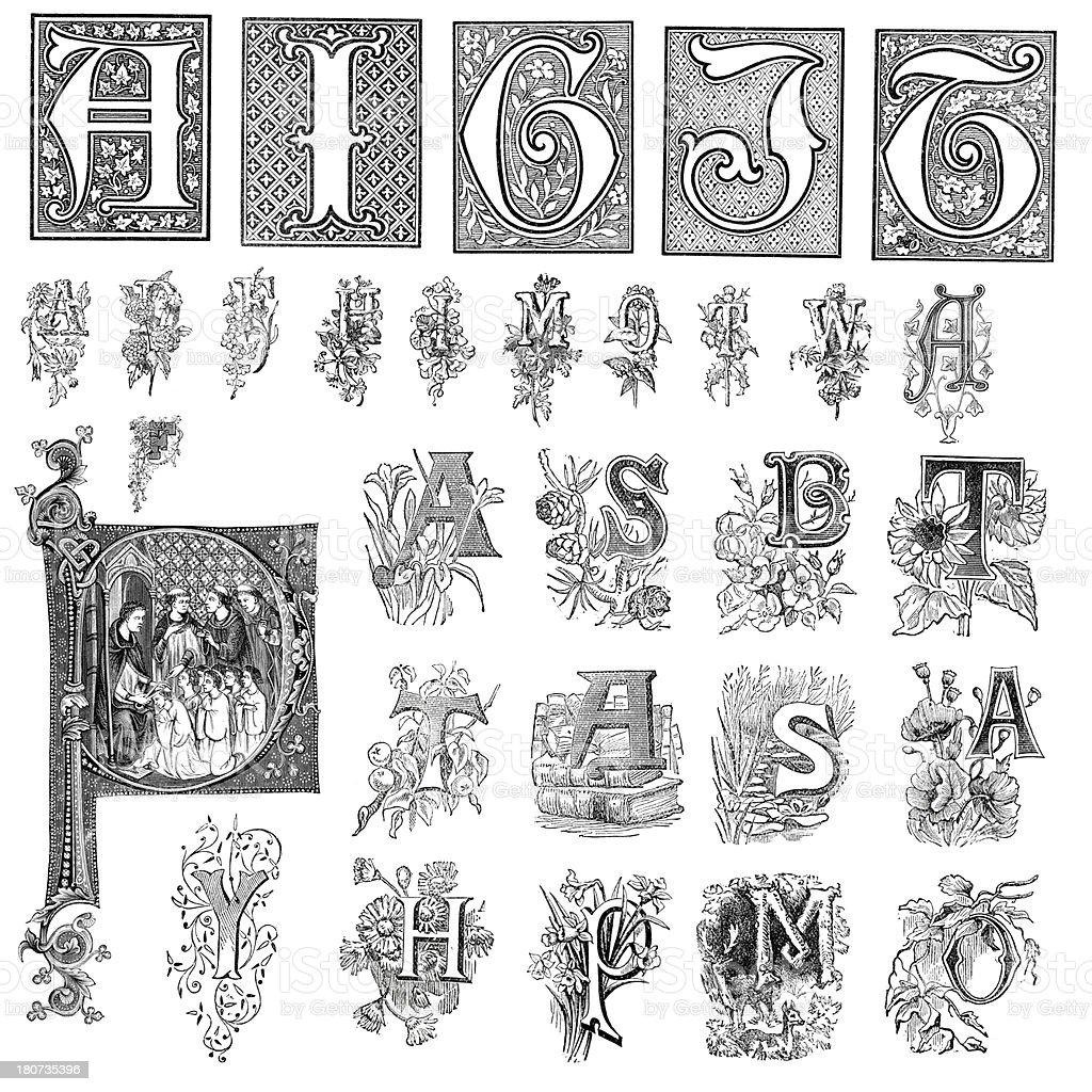 Miscellaneous retro vintage letters vector art illustration